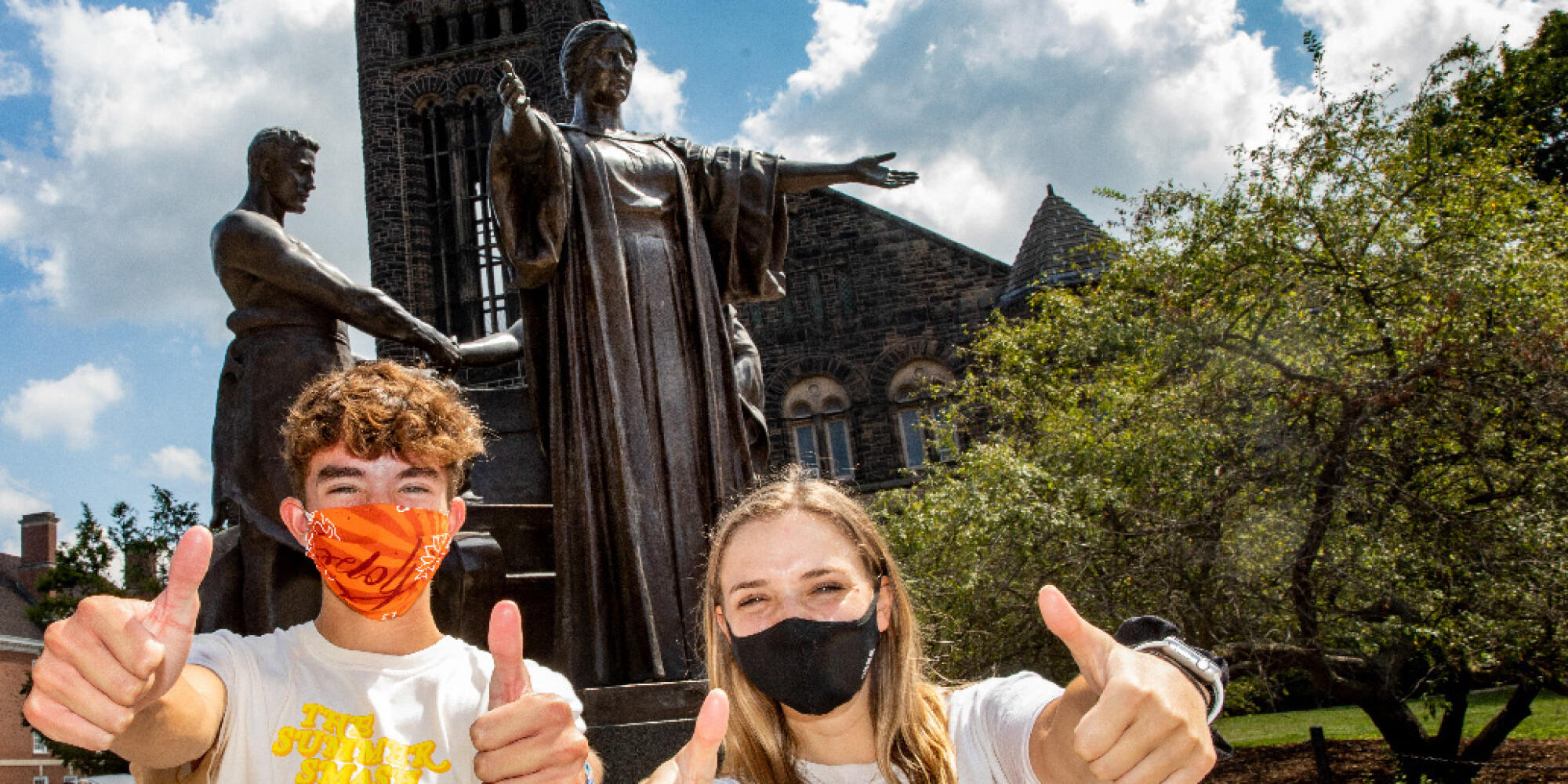 Illini students show their spirit near Alma to protect their fellow students as students mask up this semester.